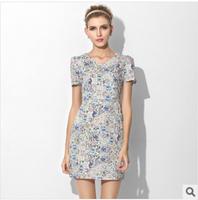 New 2014 summer short-sleeved V-Neck printed cotton dress Slim Plus size women's OL Dress Fashion Bohemian temperament Casual