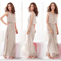 Exclusive! 8 Colors 2014 New Women High Quality Pleated Wave Lace Strap Princess Bohemia Maxi Long Chiffon Dress