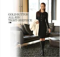 Big Size 5XL New 2014 Spring and Autumn Fashion Brand Elegant Women's M-5XL Long-sleeve Elastic Dress OL Slim hip Dresses