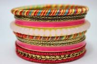 2014 Wholesale Vintage Pink Crystal Beaded Fashion Bracelet Set. Unique Designed Multilayers Bracelets and Bangls Set Jewelry
