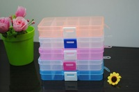 40pcs 10 grids detachable Loom kit plastic box Storage box jewel case fishing box Loom rubber storage box