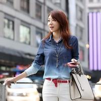 2014 Hot Sale Women's European Lapel Collar Jeans Gradient Long Sleeve Shirt Blouse for Spring/Autumn