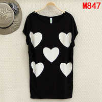 new 2014 summer tshirts wonderful heart printing t-shirt women tops big size clothing XL XXL 3XL 4XL 5XL 6XL t-shirts wholesaler