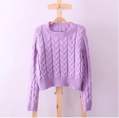 Vintage 2014 high waist fashion short design twist knitted pullover sweater female(China (Mainland))