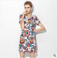 Hot new summer 2014 women's cotton Temperament Print Dress Short Sleeve Square Neck Slim Dress Ethnic Casual Dress Freeshipping