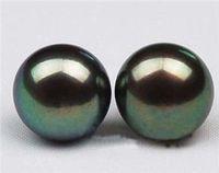 Wholesale cheap 10mm Tahitian Black Shell Pearl Earring AAA Grade / Free Shipping