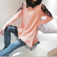 Plus size clothing shirt collar faux two piece sweater outerwear loose batwing shirt medium-long sweater Free shipping