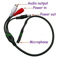 Free shipping 50pcs Mini Mic Voice Audio Microphone RCA Output Cable for CCTV Security Camera DVRs Mic With Power Cable 5pcs/lot