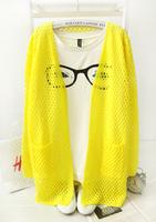 Autumn thin loose medium-long cutout women's cardigan sun protection clothing sweater outerwear cape