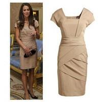 Hot Sale Great Quality Princess Office Lady Dress Summer 2014 Dresses For Women Short Sleeve Plus Size S-XXXL WQS024