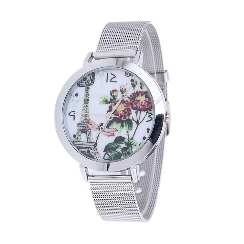 O novo ArrivalEiffel torre de aço inoxidável relógios de quartzo malha as mulheres se vestem relógios mulheres presentes transporte da gota livre(China (Mainland))