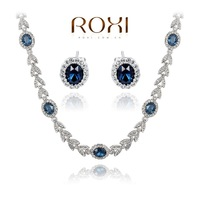 ROXI New Year Gift Crystal Set Fashion Gold Jewelry Blue Luxury Earrings+Necklace 20700393840S