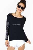 hot sell newest women Black o-neck long-sleeve knitted PU patchwork T-shirt women basic shirt free shipping