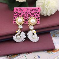 2014 new fashion Fashion accessories bj white pearl earrings 131011 long earrings gold earrings drop earrings
