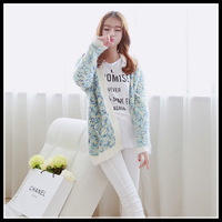 2014 autumn women's multicolor mohair cardigan sweater medium-long sweater thickening outerwear