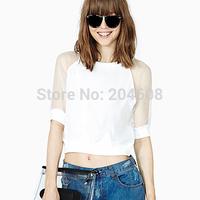 Fashion women short Tshirts gauze patchwork fifth sleeve o-neck short design navel basic shirt t-shirt