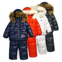Children's winter clothing set Brand Boy's 2pcs Ski suit sport sets windproof warm coats Winter Jackets+suspenders trousers+vest