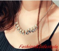 Korean  new fashion ladies temperament pearl Necklace CZ diamond jewelry Collarbone chain Free shipping