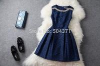 Size 4-12Women Graceful Dark Blue Rhinestone Beading Sleeveless Pleated Tank Cocktail Dress Free Shipping sammy009
