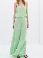 HOT New Arrival 2014 Summer Long Chiffon Beach Dress Green Flounce Strappy Maxi Dress Low-cut Back free shipping Chinapost
