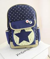 2014 Korean version of the new large- cap five-pointed star canvas shoulder bag backpack