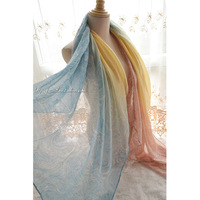 180*110 2014 New Ultra Long Bohemia Light Color Gradient Cashew Flowers Silk Scarf ,Shawls Scarves, muslim hijab