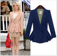 High Quality Womens Blazers And Jackets 2014 Autumn Fashion Plus Size Full Sleeve Tunic Peplum Work Casual Blaser Feminino S-2XL