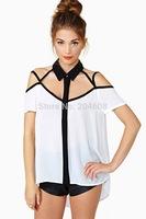 fashion sexy women strapless shirts summer short-sleeve  white chiffon shirt free shipping