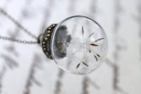 Free shipping !!Dandelion Wish Luck Glass Globe Orb Necklace Bridesmaid Gift