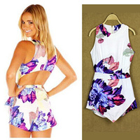 New hot  Fashion flower print playsuit women summer overalls Jumpsuit lady summer fashion skinny rompers
