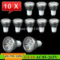 10 pcs GU10 4W 5W 10W LED Spot Light Bulb Lamp AC85~265V White/Warm White Spotlight Free Shipping