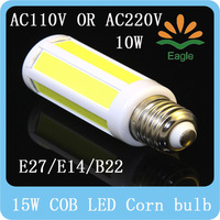 Super Bright 10W/15W COB SMD LED Corn Bulb Light E27/E14/B22 Lamp Cool/Warm White 220V/110V Free Ship
