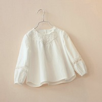 free shipping CS4061 Girls cotton v neck lace embroidery pure color blouse long sleeve
