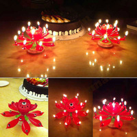 Red Rotatable Beautiful Musical Blossom Lotus 14 Flowers happy Birthday Candle