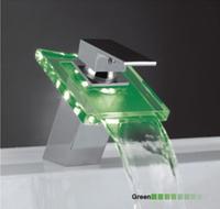 Hot Sale Discount LED LIGHT Glass Waterfall Bathroom Basin Faucet Chrome Polished Hansgrohe MK2106J-BL