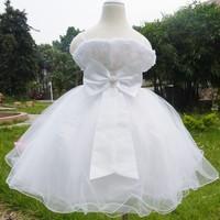 Retail 1piece Child Communion Dresses Top Quality Bow Flower Girl Kid Summer Fashion Dress Princess Clothing Dress Age 2-13 Year