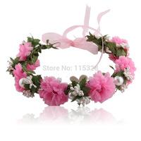 Free Shipping Hot Sale 1pcs 2014 New Bridal Girl Artificial  Fabrics Silk Elastic Wedding Flower Crown Headband For  Women