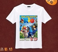 New arrival boy clothes Rio 2 children 100% cotton white short-sleeved t-shirts, children's wear ,High Quality!