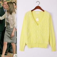 2014 Spring Autumn new women's knit sweater hollow hook flower lace cardigan pretty coat