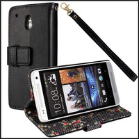 Plain Flower mobile phone wallet stand for htc one mini m4 leather case cover with black + 100 pcs / lot