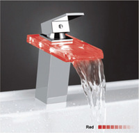 Chrome Light Glass Waterfall LED Faucet Kitchen Basin Bathroom Sink Mixer tap Faucet MK2106J-LD