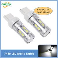 2014 New 2Pcs 7440 W21W T20 11W 12SMD 5630SMD Led Car Brake Light Turn Signal Lamp Bulbs