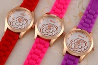 New 2014 Geneva Watch Crystal hours Ladies Quartz Watches Silicone Strap Analog Candy Fashion Casual Wristwatch