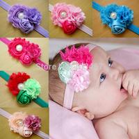 12pcs/lot newest  baby flower crystal Elastic Headbands,soft stetch headband children accessories