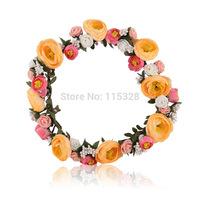 Free Shipping 1pcs 2014 New Bridal Girl  Artificial  Fabrics Silk Elastic Wedding Flower Crown Headband  Wreath For  Women