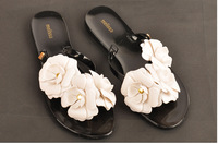 2014 summer women sandals summer shoes camellia slippers brand flip flops Melissa  jelly shoes crystal flower sandals Wholesale