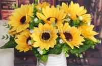"10Pcs 30cm/11.81"" Length Artificial Simulation Spring Sunflowers with Starry Seven Flower Heads per Bush Wedding Supplies"