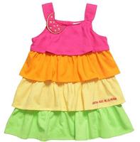 wholesales 2014 new arrival summer Children cotton baby girl princess dress sleeveless kid rainbow cake clothes 5pcs/lot