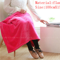 free shipping office nap blanket solid coral fleece fabric blanket 100cmX150cm 9.99