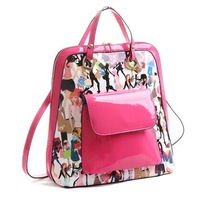 free shipping backpack,Cartoon printed shoulder bag,Bright patent leather bag,bags for girls,new design,special